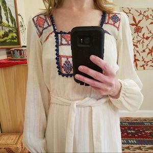 Vintage Embroidered JCPenny Hippie Folk Dress S